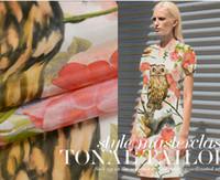 Wholesale Spring catwalk models owl digital printed silk crepe de chine splicing locate fabric