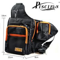 Оптово-Piscifun 32 * 39 * 12CM Черный Рыбалка Сумки Песка Многоцелевой водонепроницаемый полиэстер Рыбалка сумка Карп Рыбалка Reel Приманки Tackle Bag