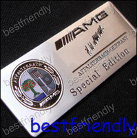 Wholesale 100pcs Aluminum AMG Colour Affalterbach Apple Alloy D car logo Badge Emblem Sticker x30mm badges