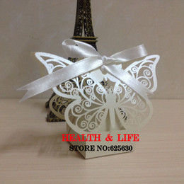 Wholesale-Free shipping 50pcs lot Laser cut White Butterfly Wedding Candy Favor paper Box wedding favor and gift baby shower Birthday gift