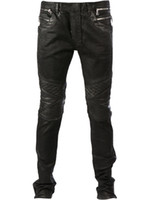 Wholesale coated jeans Luxury Brand Designer Runway Biker Slim Washed Jeans Bal Main Pairs Vaqueros Balm in Mens with pocket