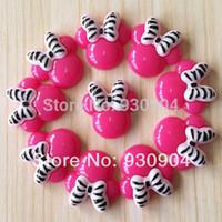 Party Resin Flatback birthday Wholesale-Lot 10pcs Hot Pink Minnie Mouse Zebra Bow Resin Cabochons Flatbacks Flat Back Girl Hair Bow Center Crafts Embellishments BXT257
