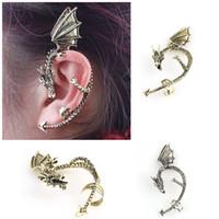 Wholesale Retro Vintage Gothic Rock Punk Twine Dragon Shape Ear Cuff Clip Earring Earrings for Women Men Drop Earrings
