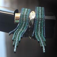 Wholesale Popular Fashion Dangle Earring Elegant Large Earrings Long Design Vintage colorful rhinestone Tassel Earring Drop Earring