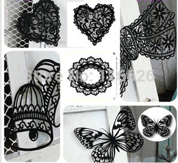 Wholesale-NEW!Delicate Flocking papercraft Laser paper carving sculpture creative black attractive lace paper-cut 6sets  lot