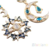 Wholesale New Style Fashion Star Sun Moon Rhinestone Crystal Stud Dangle Pretty Earrings for women WH