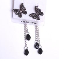 Wholesale hot selling Butterfly tassel long design dual earring