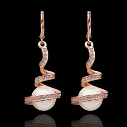 Wholesale PE011 Women Tops K Rose Gold Plated Simulated Pearl Hook Earrings pendientes mujer boucle d oreille pendante