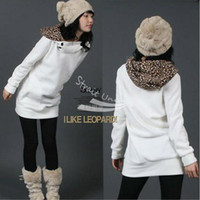 Wholesale Womens Autumn Sweatshirts Hoodies Leopard Top Outerwear Parka Coats White Black Four Size