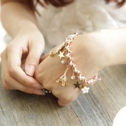 Wholesale-2015 popular flowers poker stars Tower leather bracelets for women with charm bracelet jewelry accessories pulseiras femininas