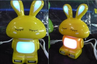 Wholesale Cute Gleamy Rabbit USB HUB High Speed Port USB Hub with LED Light Creative HUB