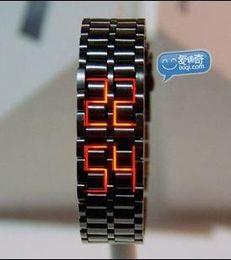 Wholesale 100pcs HOT Iron watch Samurai fashion Japan Inspired Red LED Watch iron