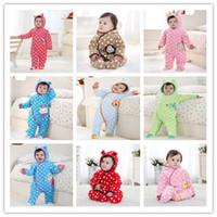 Unisex baby sleepsuits - New children sleepsuits baby boy girl s autumn winter warm wear baby polka velvet cotton hoodies romper