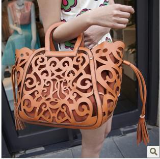 spring 2015 new cutout carved women shoulder handbag girls hollow