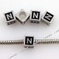 Black metal letters - 30 Arabic alphabet N Square Charms Metal Beads Letter Bead Fit Bracelet Diy European Necklace