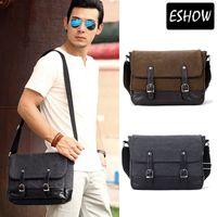 Wholesale Eshow Men Messenger Bags Canvas Vintage Bag Black Brown PU Patchwork Shoulder Bags Men Bag Bolsa Cross Body Briefcases BFK010901