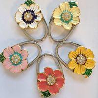 Wholesale Solid Flower Metal Foldable Bag Purse Hook Bag Hanger Purse Hook Handbag Holder Bling Bag Folding Table Rhinestone Noble