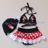 . Bikinis 3-6 Months Wholesale-Retails (3-7Y) Kids Girls Minnie Mouse Bikini Swimsuit with Matching Cap Girls Bathing Suit Petti Skirt Swimwear Free Shipping