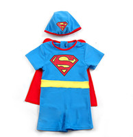 Wholesale ummer Baby Boy Swimwear with Cap Superman Swimsuit with Cape Kids Beach Bodysuit Children Bathing Suits SWIMSUIT Hat Cloak