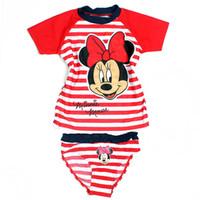 achat en gros de fille maillot de bain chaud-Gros-2015 New Kids maillots de bain filles Printemps Eté Mignon Belle Red Striped Minnie Mouse One Piece Maillots de bain Vente chaude