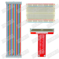 Raspberry Pi Yes New Wholesale-Raspberry Pi GPIO expansion DIY kit type B (Rainbow 40P cable + breadboard + GPIO adapter plate)
