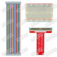 Cheap Wholesale-Raspberry Pi GPIO expansion DIY kit type B (Rainbow 40P cable + breadboard + GPIO adapter plate)