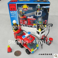Plastics With Original Box,Without Original Box Can Not Eat Wholesale-Free Shipping Enlighten 903 130pcs 3D DIY building block sets plastic bricks blocks toys for kid toy gift police Fire Truck