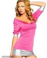 Cheap New Women Sexy Spandex Chemises with PVC Vinyl Trim & Short sleeves