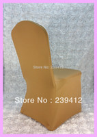 Beach Chair Spandex / Polyester Plain Wholesale-100pcs Gold Lycra Wedding Chair Cover Arch Front ,Spandex Chair Cover for Weddings Events &Banquet &Party Decoration