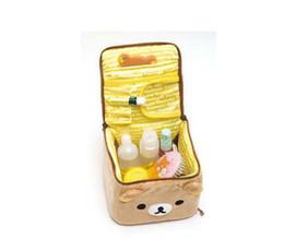 Wholesale Hot sale relax bear Kawaii Rilakkuma bear cosmetic ZIPPER bag birthday gift for girls plush satin fabric