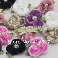 Wholesale velvet ribbon Flower appliques with leaf wedding doll mix Colors A024