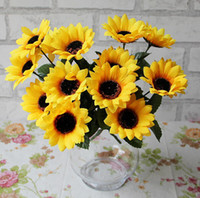 Wholesale FD1010 Artificial Sunflowers Posy Bouquet Home Craft Decor DIY Bunch Heads