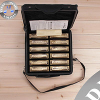 Wholesale HERO M1018 Bronze Hole Tone Blues Harmonica Set with carrying case