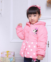 Wholesale minnie mouse thick children coat Children Kids Clothes Girls Coat Winter Warm Outerwear Baby down jackets for children GW