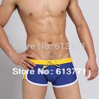Cheap Wholesale-New Men's Swimwear Sexy Mens Sport Boxer Shorts Tie Rope Swim Trunks Free Dropshipping