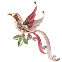 Wholesale Hot Selling K Gold Plated Enamel Flying Bird Brooch Pin Jewelry with Genuine Austrian Crystal