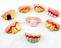 2-4 Years false teeth - Funny Gags Practical Jokes Prank Freak False Teeth Set Halloween April Fool s Day Gift Wacky Toys