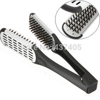 Wholesale Pro Hairdressing Straightener Ceramic Hair Straightening Double Brush Comb Clamp Styling Tools