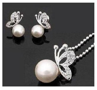Wholesale Hot set Fashion pearl jewelry set Copper with silver Fashion jewellery set ADCG1