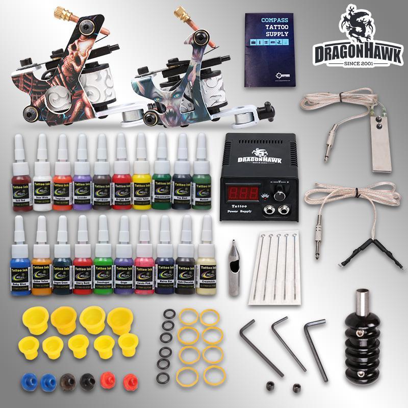 Wholesale beginner tattoo starter kits 2 guns machines 20 for Starter tattoo kits