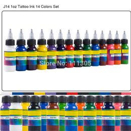 Оптово-моды 14 цветов Профессиональные татуировки Kit Пигментные чернила Комплект 1oz 30мл / бутылка татуировки для боди-арта татуировки