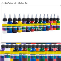 Atacado-Fashion 14 cores Professional Tattoo Pigment Kit tinta Conjunto Completo uma onça 30ml / Tattoo garrafa para Body Art Tattoo