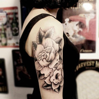Wholesale Temporary tattoos large flower arm fake transfer tattoo stickers hot sexy men women spray waterproof designs