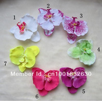 Cheap Wholesale-Mix 7pcs Moth Orchid Flowers with Hair Clip Baby Girls Head Flower Children Kid's Hair Accessories Free Shipping