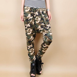 Wholesale-New Fashion Attractive Casual Loose Camo Haren Pants Full Length for Women hip hop style