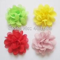 Precio de La gasa de tul flores al por mayor-Al por mayor-nuevas flores de Navidad 15colors de valores 50pcs / lot Mini flores de la gasa 2