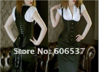 Polyester Solid Yes Wholesale-Free shipping!!Sexy Corset, Sexy Lingerie, Full Steel Boned Corset, Black Satin