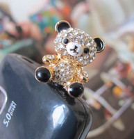 Wholesale Top Quality Crystal Panda Mobile Dust Plug Accessories K Gold Plated Hollow Out Panda Earphone Jack Plug SP026