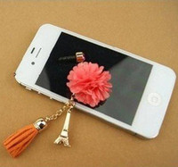 Cheap Wholesale-Min.order is $10(Mix order) Free Shipping Cell Phone Accessories Phone Jewelry Eiffel Tower TasselsDust Plug