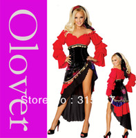 Wholesale Sexy new cosplay costumes for hallween Black Red Sexy Gypsy Costume By Bridget OL8915